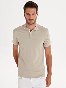 %98 Pamuk %2 Elastan Dar Tişört Pike Polo Yaka Kısa Kol Düz Slim Fit Polo Yaka Pike Tişört