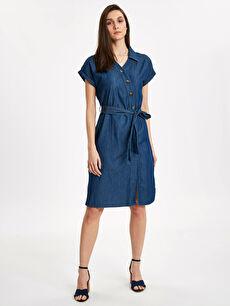 Beli Bağlama Detaylı Jean Gömlek Elbise