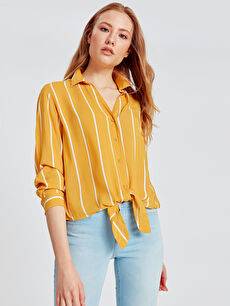 Beli Bağlama Detaylı Çizgili Poplin Gömlek