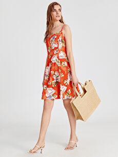Desenli Askılı Kloş Elbise
