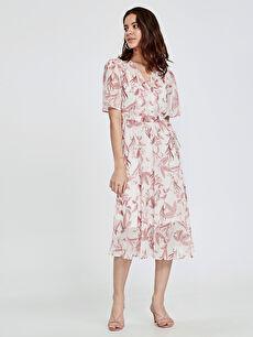 Kruvaze Yaka Çiçek Desenli Şifon Elbise