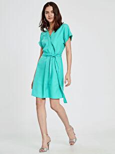 Kuşaklı Kruvaze Elbise
