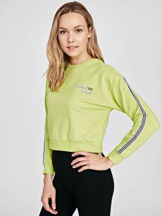 Şerit Detaylı Neon Sweatshirt