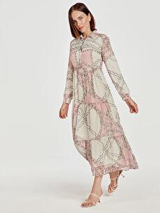 Desenli Uzun Şifon Elbise