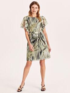 Desenli Fırfırlı Şifon Elbise