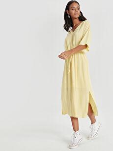 Sarı Beli Lastikli Salaş Viskon Elbise