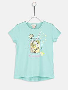 Turkuaz Kız Çocuk Baskılı Pamuklu Tişört