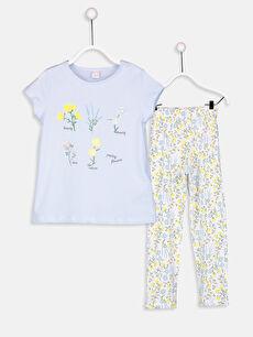 Mavi Kız Çocuk Pamuklu Pijama Takımı