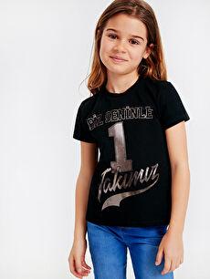 Aile Koleksiyonu Kız Çocuk Yazı Baskılı Pamuklu Tişört