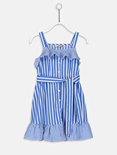 Kız Çocuk Çizgili Poplin Elbise