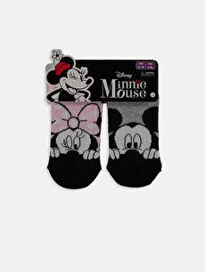 Kız Çocuk Minnie Mickey Mouse Desenli Patik Çorap 3'Lü