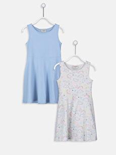 Kız Çocuk Pamuklu Elbise 2'li