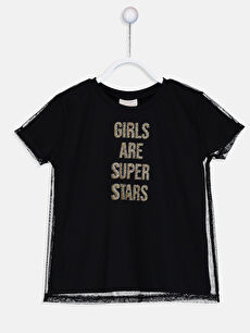 Kız Çocuk Yazı Baskılı Tüllü Tişört