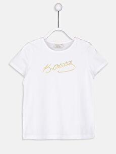 Beyaz Kız Çocuk Atatürk İmzalı Pamuklu Tişört