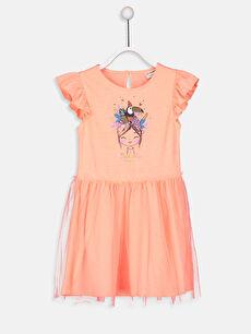 Kız Çocuk Baskılı Fırfırlı Elbise