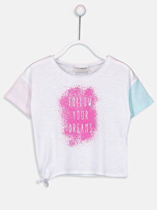 Kız Çocuk Yandan Bağlamalı Tişört