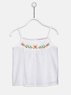 Kız Çocuk Çiçekli Pamuklu Bluz