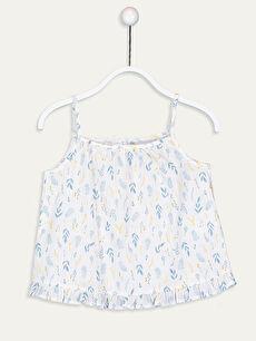 Kız Çocuk Desenli Poplin Bluz