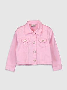 Gömlek Yaka Cep Detaylı Kız Çocuk Jean Ceket