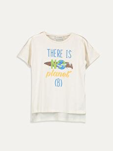 Kız Çocuk Slogan Baskılı Tişört