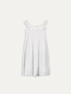 Kız Çocuk Yakası Fırfırlı Pamuklu Elbise