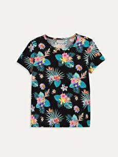Kız Çocuk Çiçekli Pamuklu Tişört