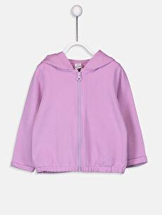 Lila Kız Bebek Fermuarlı Kapüşonlu Sweatshirt