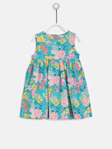 Turkuaz Kız Bebek Desenli Poplin Elbise