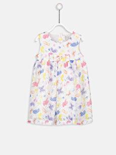 Kız Bebek Desenli Dantel Elbise
