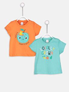 Yeşil Erkek Bebek Pamuklu Desenli Tişört