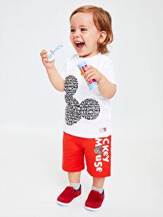 Erkek Bebek Mickey Mouse Baskılı Tişört Ve Şort