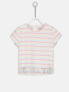 Kız Bebek Pamuklu Çizgili Tişört