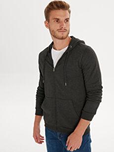 Kapüşonlu Fermuarlı Erkek Sweatshirt
