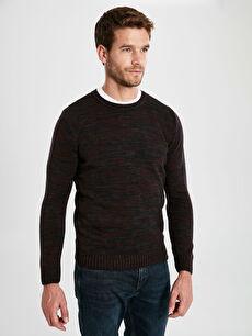 Burgundy Crew Neck Long Sleeve Men's Knitwear Sweater