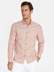 Slim Fit Armürlü Uzun Kollu Gömlek