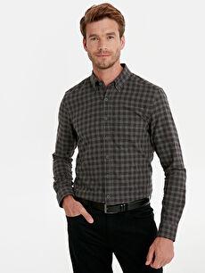 Slim Fit Ekose Uzun Kollu Poplin Gömlek