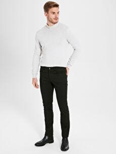 Siyah Slim Fit Armürlü Pantolon