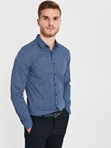 Ekstra Slim Fit Desenli Uzun Kollu Gömlek