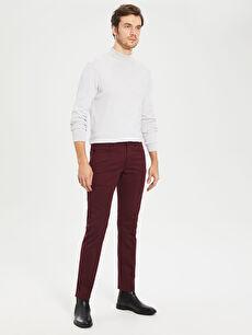Bordo Slim Fit Armürlü Pantolon