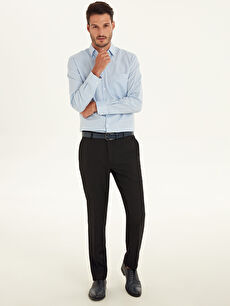 Slim Fit Armürlü Takım Elbise Pantolonu