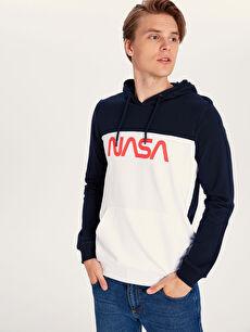 Nasa Baskılı Kapüşonlu Sweatshirt