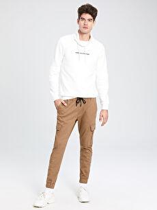 Slim Fit Gabardin Kargo Pantolon