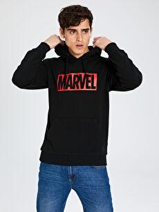 Marvel Baskılı Kapüşonlu Kalın Sweatshirt
