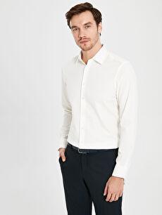 Slim Fit Desenli Uzun Kollu Armürlü Gömlek