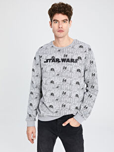 Star Wars Baskılı Bisiklet Yaka Sweatshirt