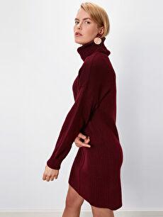 Düz Şal Yaka Triko Elbise