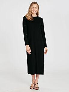 Kolları Aplike Baskılı Salaş Viskon Elbise