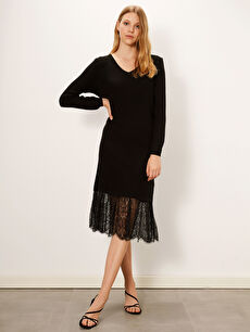 Dantel Detaylı İnce Triko Elbise