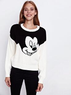 Mickey Mouse Desenli Triko Kazak