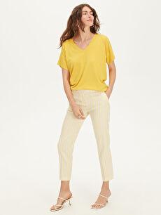 Sarı Çizgili Esnek Pantolon